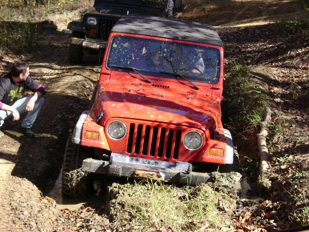 This is one stuck Red Jeep