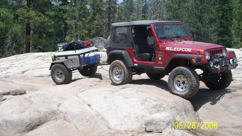 Red Jeep Club Offroad Jeeping Trailer on the Rubicon Trail
